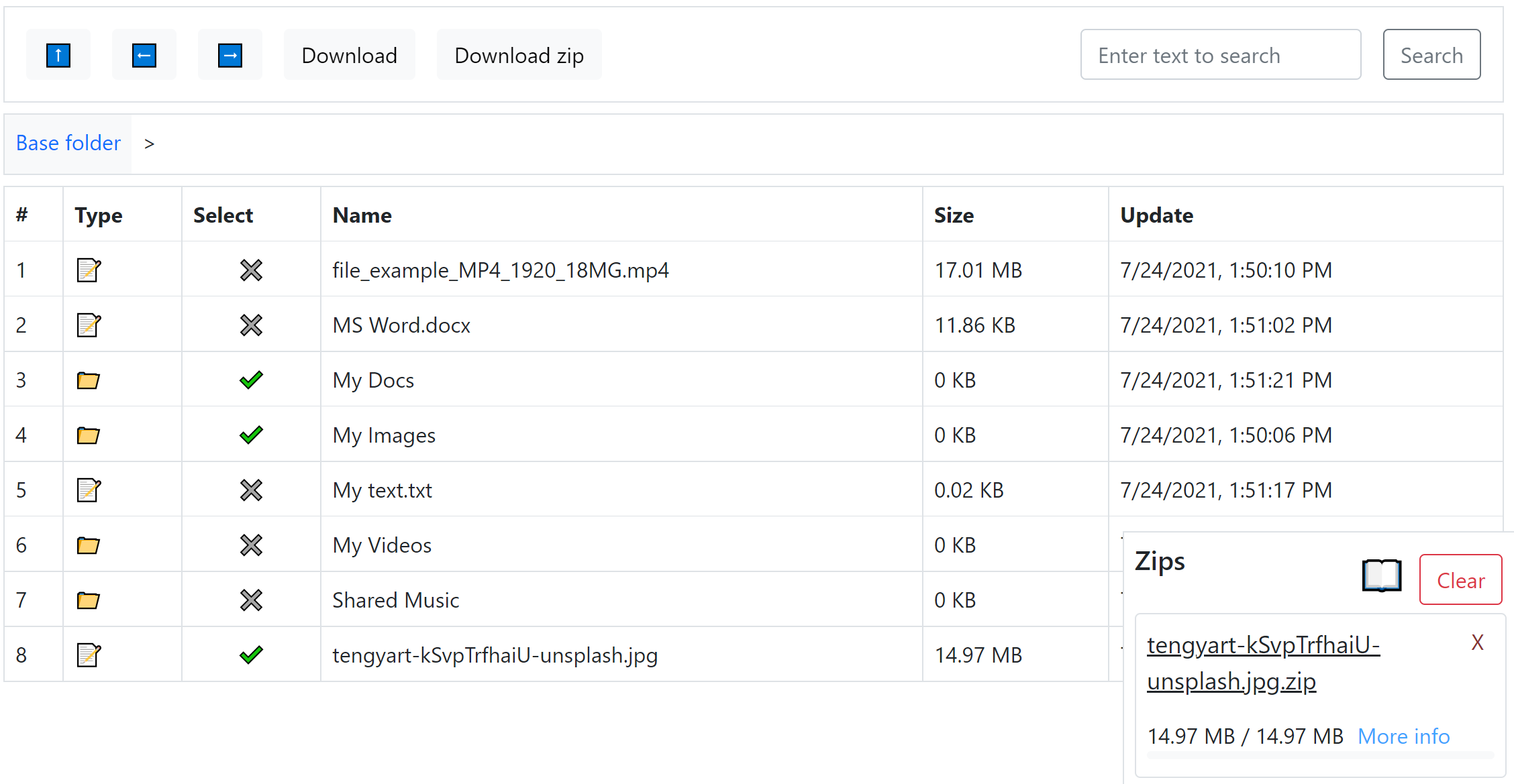 The file manager (online webapp)